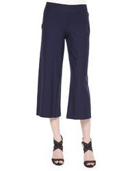Wide leg washable crepe cropped pants medium 526080