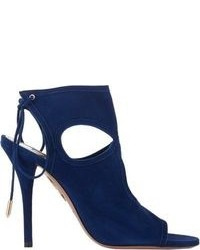 Navy Cutout Suede Ankle Boots