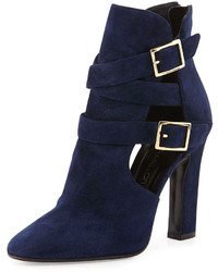 Tamara Mellon Suede Cutout Double Buckle Ankle Boot Navy