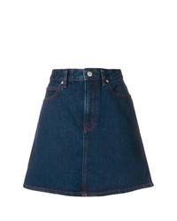 Calvin Klein Jeans Overstitched A Line Denim Skirt