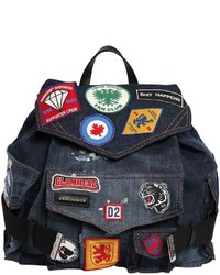 Dsquared2 military glam patches denim backpack medium 958396