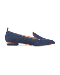 Nicholas Kirkwood Beya Denim Point Toe Flats