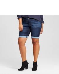 Ava & Viv Plus Size Denim Bermuda Shorts Dark Wash