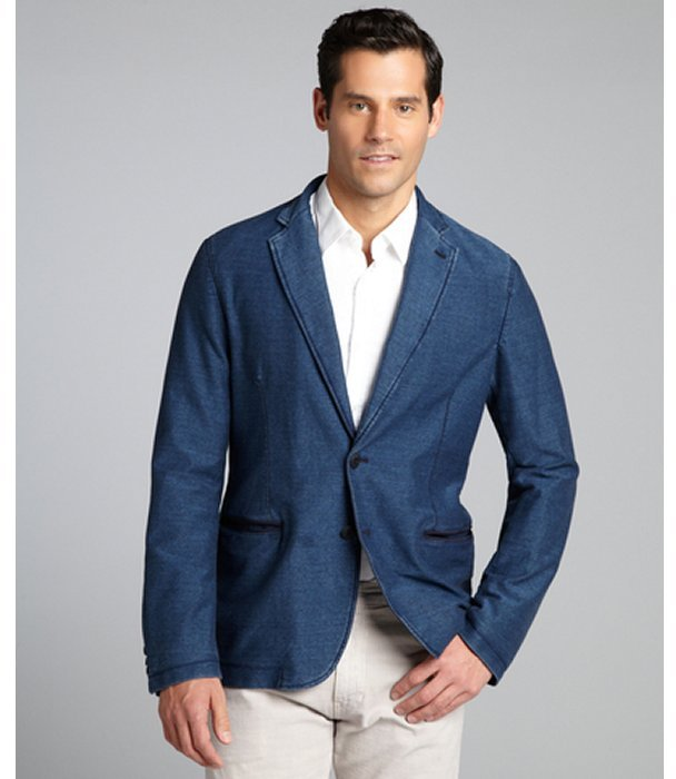 Armani Collezioni Blue Stretch Denim Two Button Blazer | Where to ...