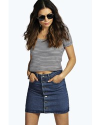 Boohoo Briana Button Through 5 Pocket Denim Mini Skirt