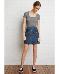 Forever 21 Button Down Denim Mini Skirt