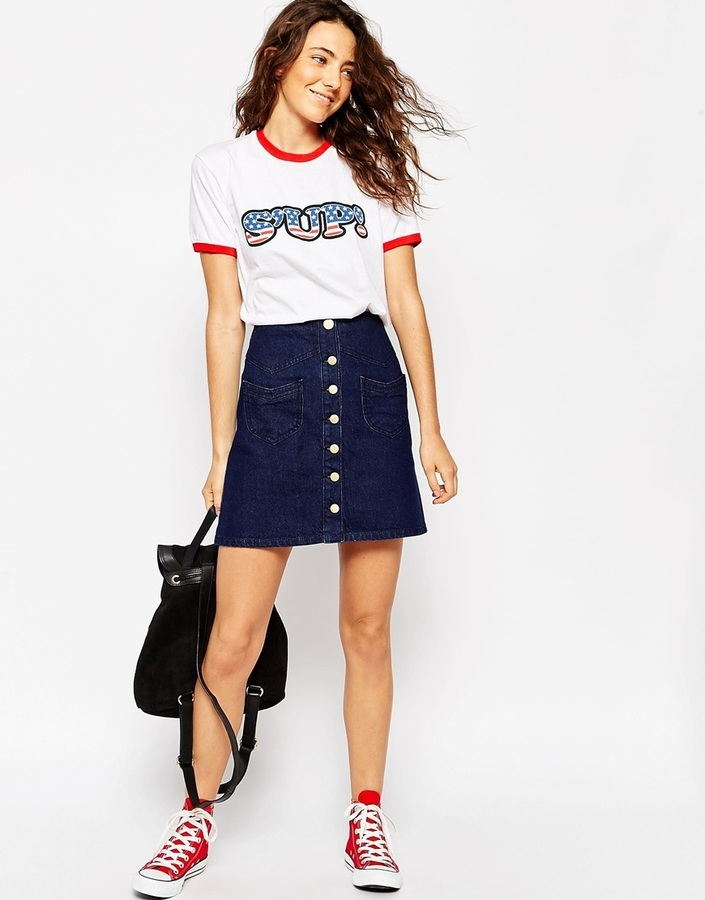 8dcb1cc22c1b ... Asos Collection Denim A Line Mini Skirt With Button Front And Pockets  In Indigo ...
