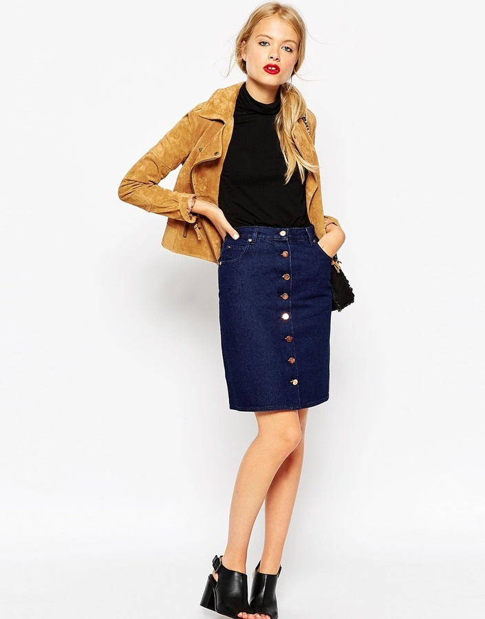Asos Collection Denim Polly A Line Button Through Midi Skirt In ...