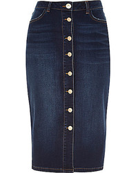 River Island Dark Denim Button Up Midi Pencil Skirt