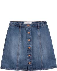 H&M Denim Skirt Dark Denim Blue Ladies