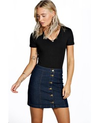 Boohoo Kelly Denim Button Front Mini Skirt