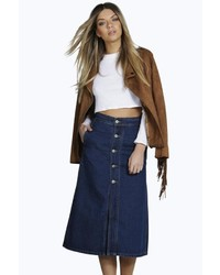 Boohoo Lisa Denim Button Through Midi Skirt