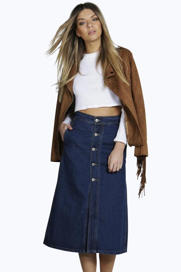 8971ed745 Boohoo Lisa Denim Button Through Midi Skirt, $32 | BooHoo ...