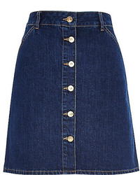River Island Mid Wash 70s Button A Line Denim Skirt
