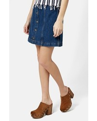 Topshop Moto Button Front Denim Miniskirt