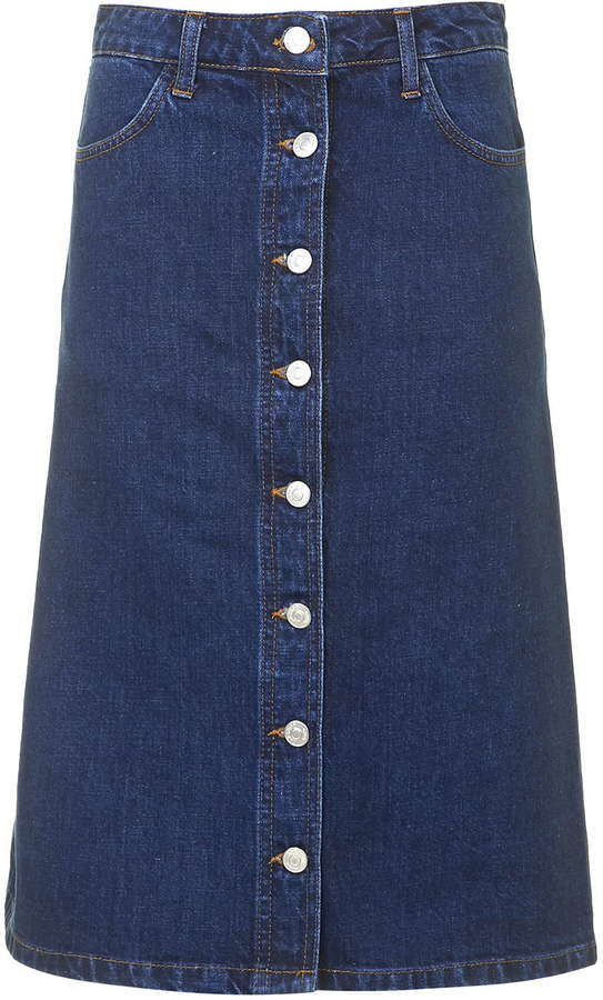 Topshop Moto Denim Button Front Midi Skirt | Where to buy & how to ...