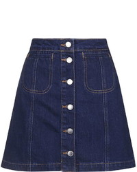 Moto Denim Button Front Skirt