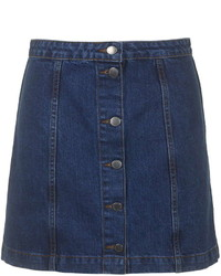 Topshop Petite Denim Button Front Skirt