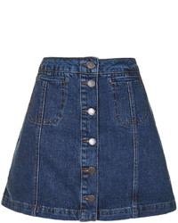 Petite Denim Button Front Skirt
