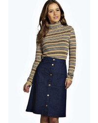 Boohoo Petite Emily Pocket Detail Button Through Denim Midi