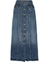 Current/Elliott The Sally Denim Midi Skirt Mid Denim