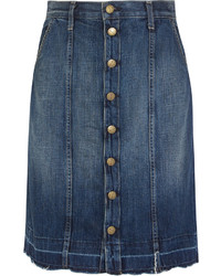 Current/Elliott The Short Sally Denim Skirt Mid Denim