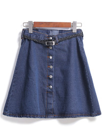 With Buttons Denim A Line Skirt