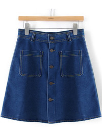 With pockets buttons denim skirt medium 374387