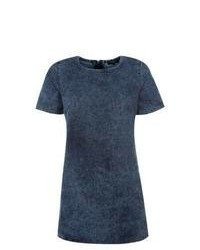 New Look Petite Blue Denim Tunic Dress