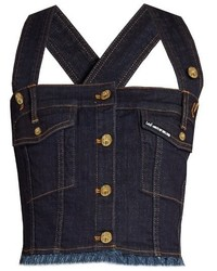 House of Holland X Lee Cross Back Denim Cropped Top