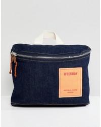 Navy Denim Crossbody Bag