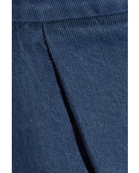 Marni Cropped Denim Wide Leg Pants Blue
