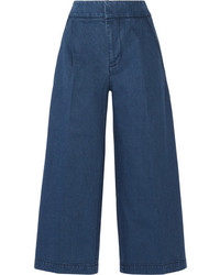 Marni Cropped Denim Wide Leg Pants Blue