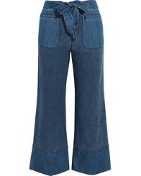 J.Crew Gaffney Linen Blend Chambray And Denim Wide Leg Pants Blue