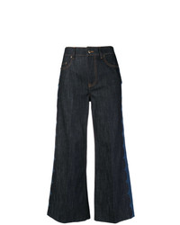 RED Valentino Printed Side Cropped Wide Leg Jeans