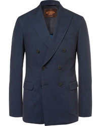 Tod's Blue Slim Fit Double Breasted Denim Blazer