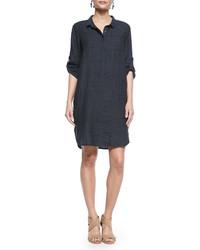 Eileen Fisher 34 Sleeve Organic Linen Henley Dress Denim Plus Size