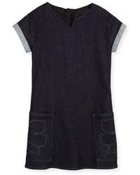 Karl Lagerfeld Cap Sleeve Stretch Denim Shift Dress Blue Size 2 5