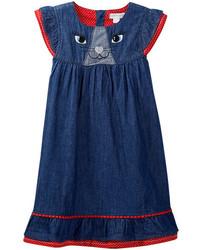 Pumpkin Patch Cat Face Denim Dress