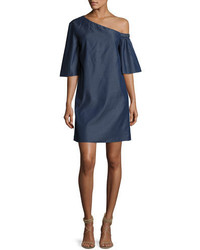 Tibi Dark Denim One Shoulder Dress Dark Blue