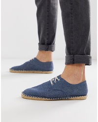 ASOS DESIGN Lace Up Espadrilles In Blue Denim Chambray