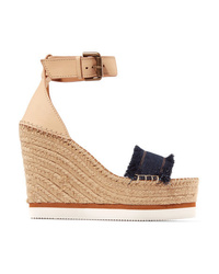 See by Chloe Leather And Denim Espadrille Wedge Sandals