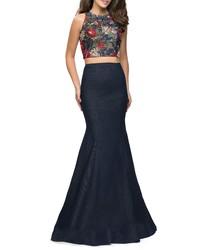 La Femme Two Piece Denim Mermaid Gown