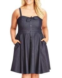 City Chic Plus Size Sweet Denim Fit Flare Dress