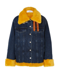 MARQUES ALMEIDA 7 For All Mankind Oversized Shearling Trimmed Denim Jacket