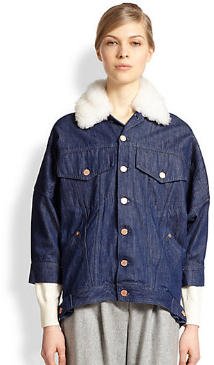 Band Of Outsiders Shearling Collar Denim Jacket Where To