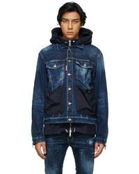 DSQUARED2 Blue Denim Hybrid Techno Dan Jacket