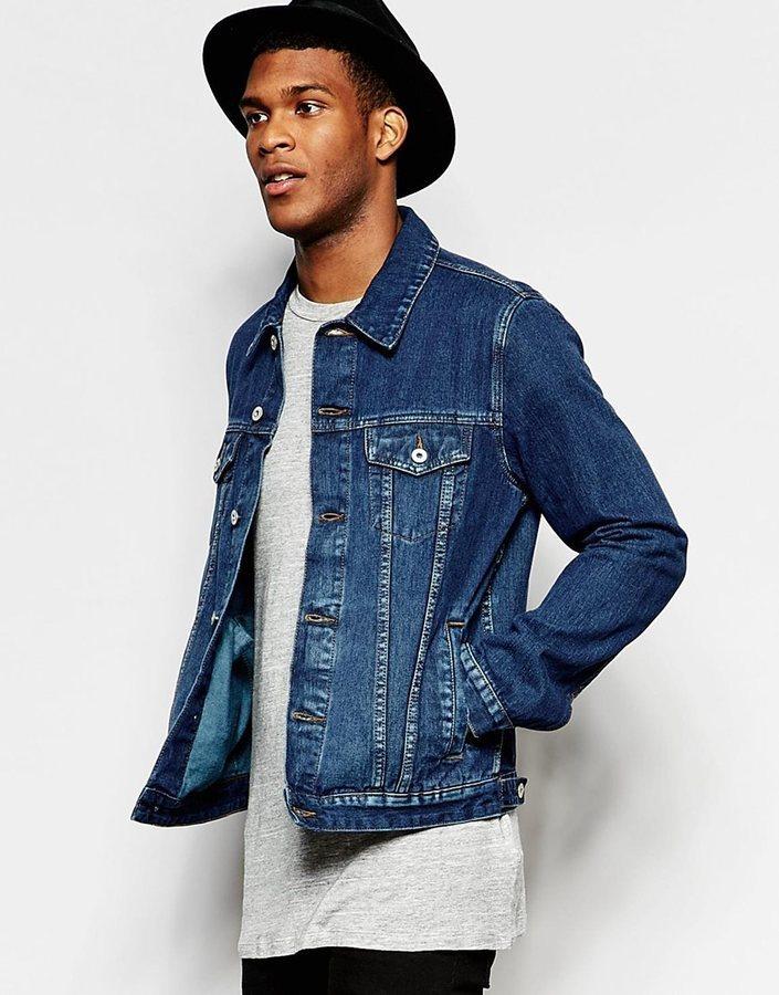 ... Asos Brand Slim Fit Dark Wash Denim Jacket ... 987aa39c5
