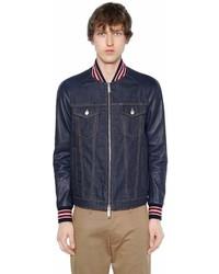DSQUARED2 Denim Bomber Jacket W Leather Sleeves