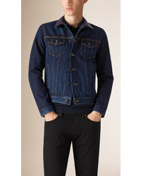 Burberry Denim Jacket With Leather Collar